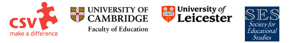 Logos for CSV, University of Cambridge, University of Leicester, Society for Educational Studies